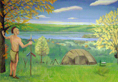 Mural of a native American looking toward the Mississippi River valley