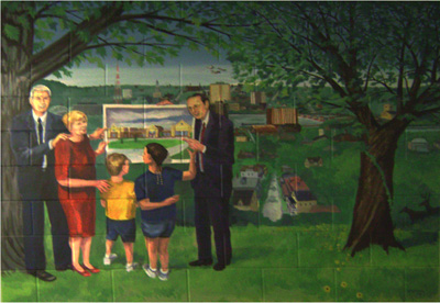 Mural of a family looking at a plan for a suburban area in the Mississippi River valley