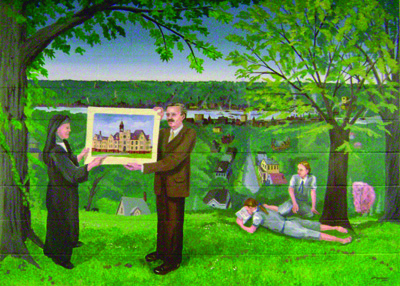 Mural of a family looking at a plan for a church in the Mississippi River valley