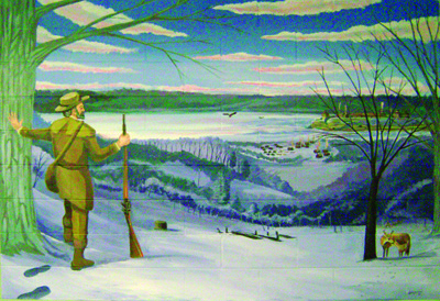 Mural of an explorer looking toward the Mississippi River Valley in winter