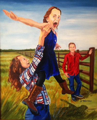 Portrait of two girls, one holding the other above her, while a man in a red shirt watches on from a wooden fence