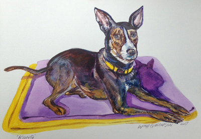 Portrait of a black dog laying on yellow and purple towels
