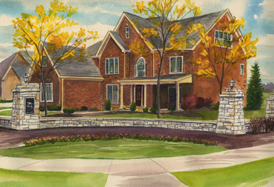 Watercoloring of a two-story brown house in the fall