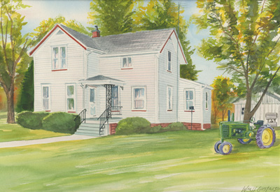 Watercoloring of a white house in summer with a tractor in the front yard