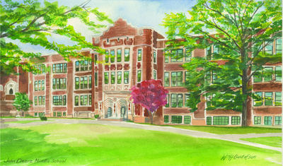 Watercoloring of the facade of a three-story brick school