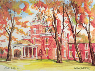Watercoloring of Augustana College's House on the Hill in fall