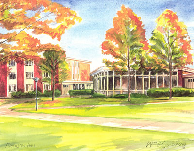 Watercoloring of Augustana College's Erickson Hall in the fall