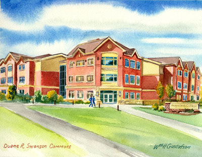 Watercoloring of Augustana College's Duane R. Swanson Commons in the summer