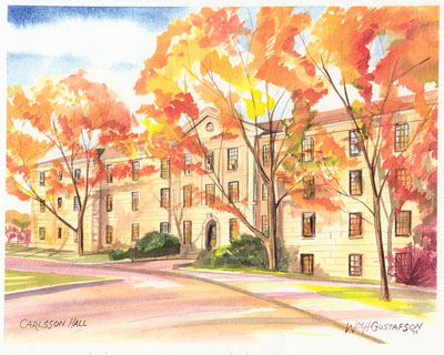 Watercoloring of Augustana College's Carlsson Hall (now Evald Hall) in the fall