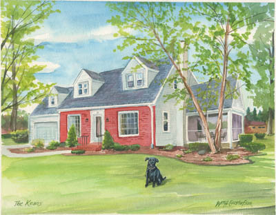 Watercoloring of a brick house with white siding and a black-shingled roof in the summer with a black dog in the front yard