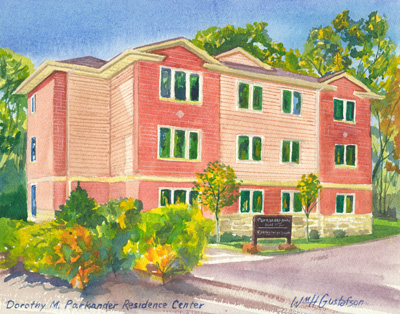 Watercoloring of Augustana College's Dorothy M. Parkander Residence Center in fall