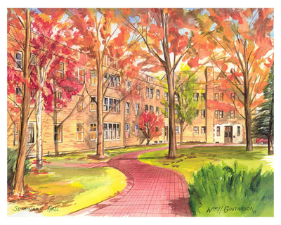 Watercoloring of Augustana College's Seminary Hall in the fall