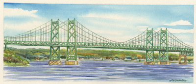 Watercoloring of the old I-74 bridge connecting Moline, IL to Bettendorf, IA