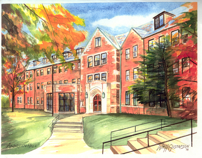 Watercoloring of Augustana College's Andreen Hall in the fall