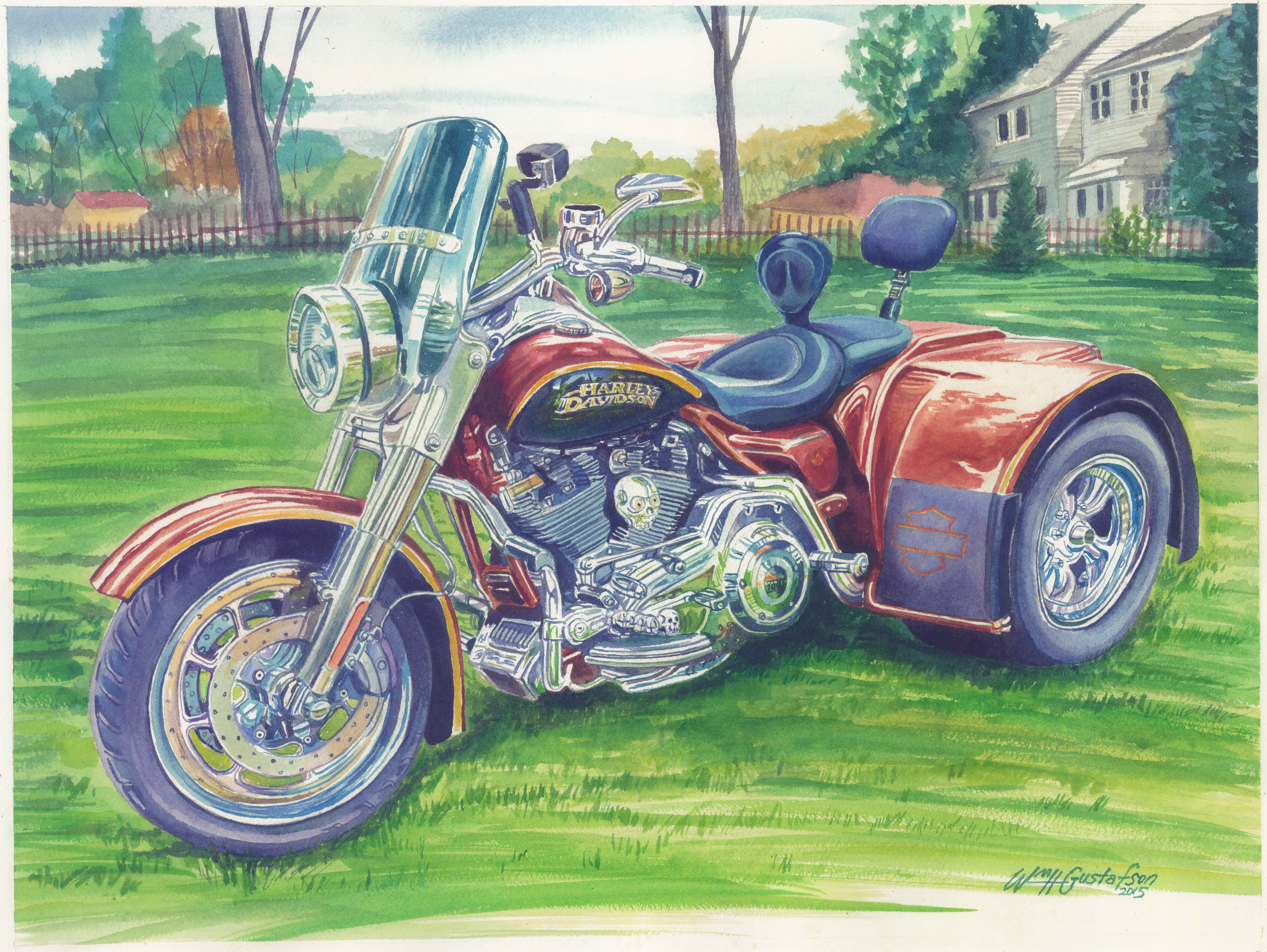 Watercoloring of a Harley-Davidson Tricycle